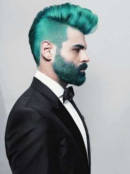 Blue Green Hair Men Hairstyle