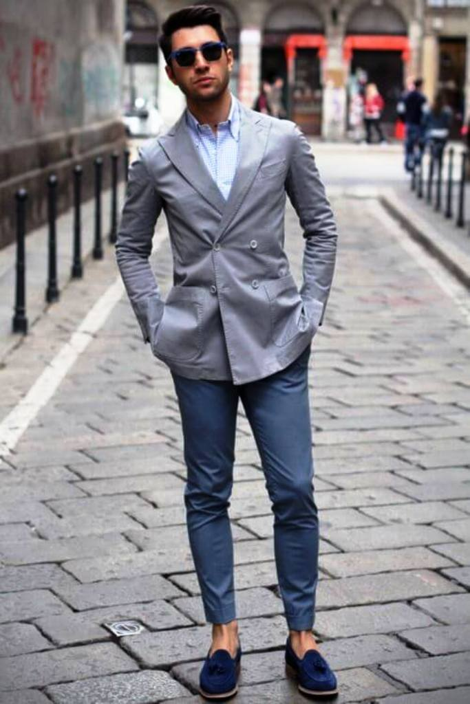 Light Blue Blazer and Grey Shirt