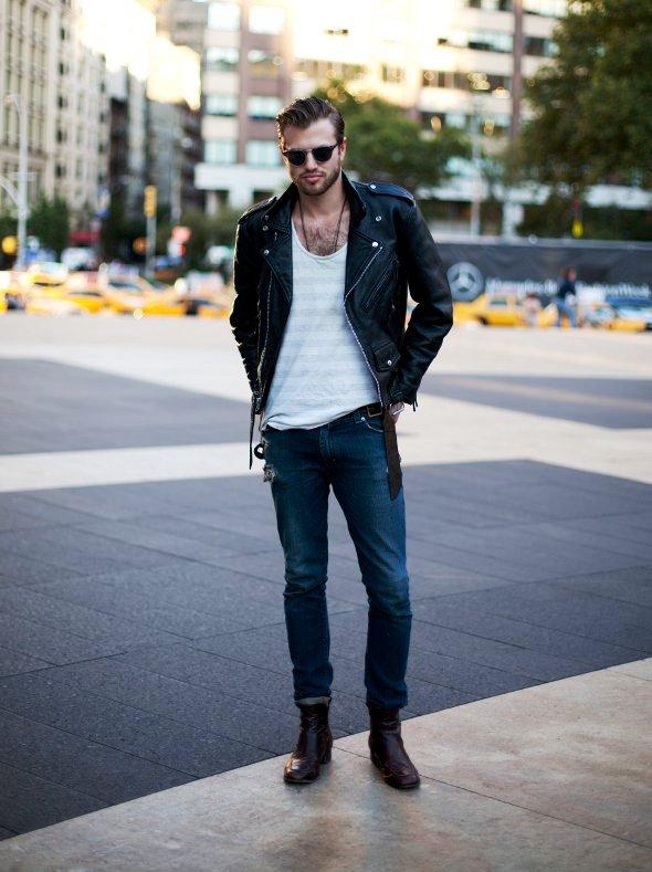 Men's Leather Jacket Street-Style