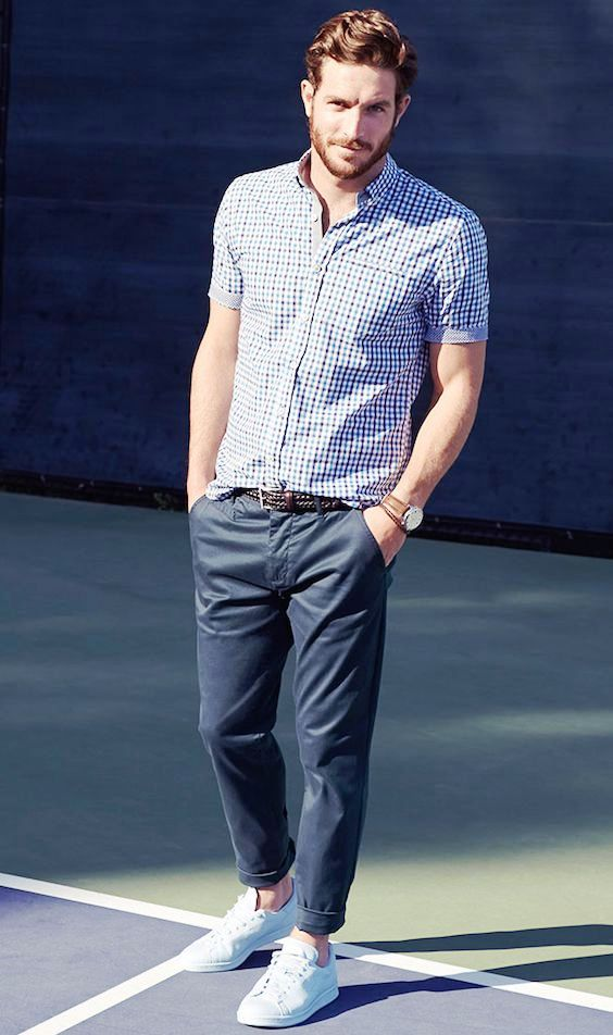 Men's Navy and White Gingham Short Sleeve Shirt, Navy Chinos, White Low Top Sneakers, Dark Brown Woven Leather Belt