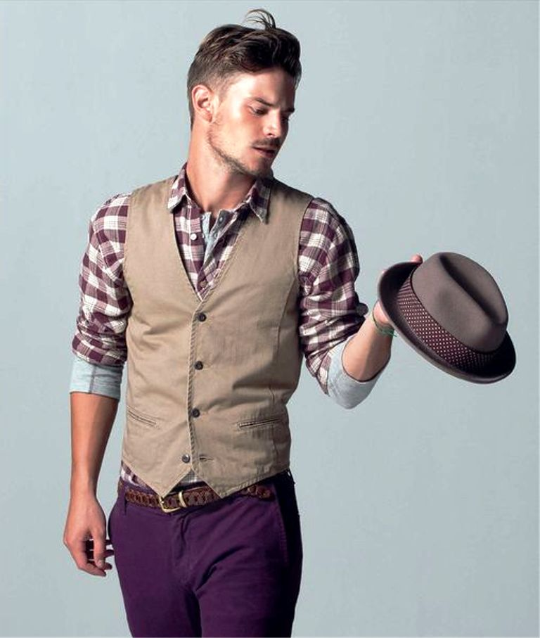 Men's Tan Waistcoat, Burgundy Plaid Long Sleeve Shirt, Violet Jeans, Grey Hat