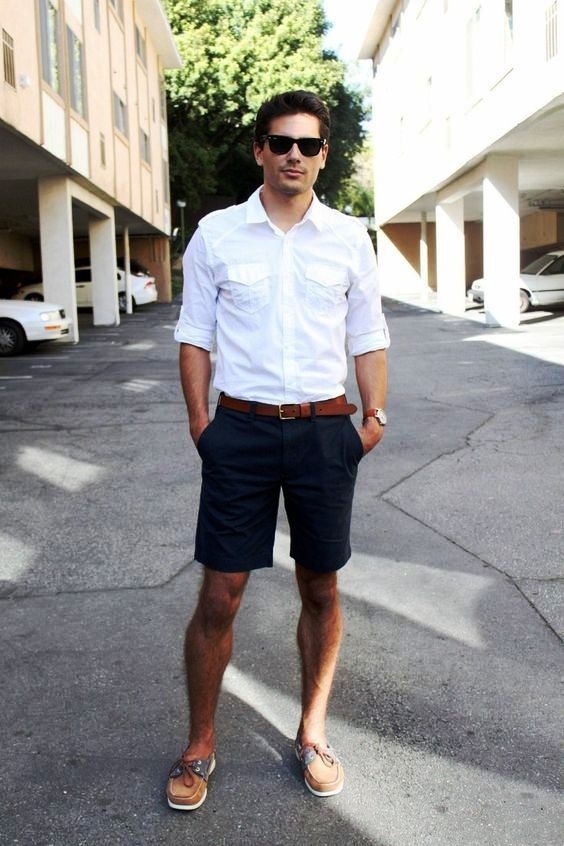 Men's White Long Sleeve Shirt, Navy Shorts, Brown Leather Boat Shoes, Brown Leather Belt