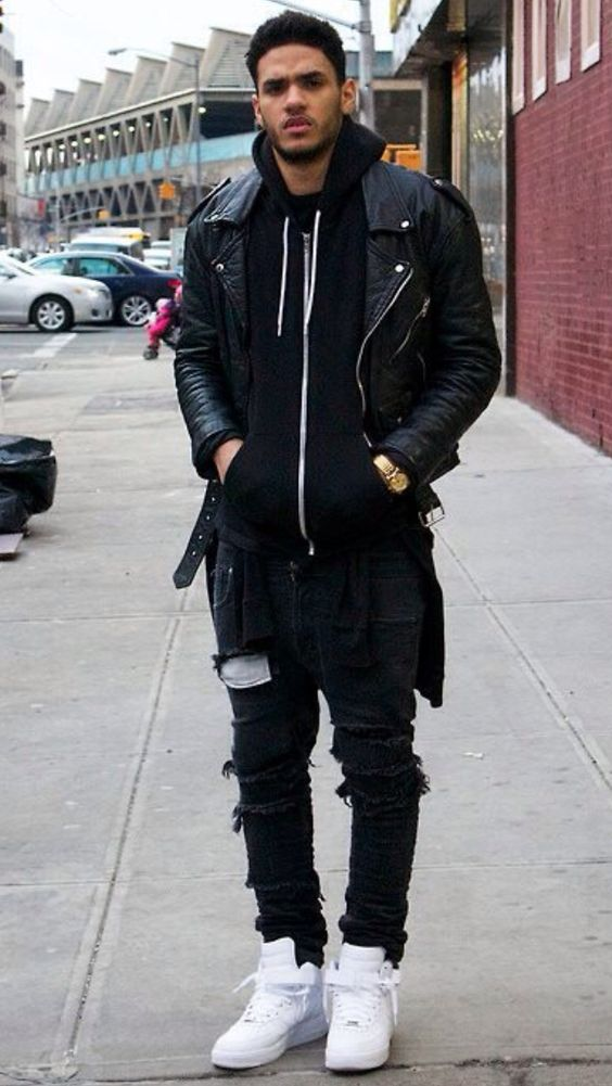 wear black jecket in urban mens fashion