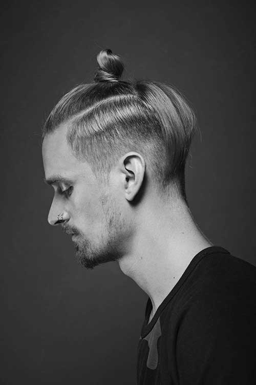 messy hairstyles for men top knot
