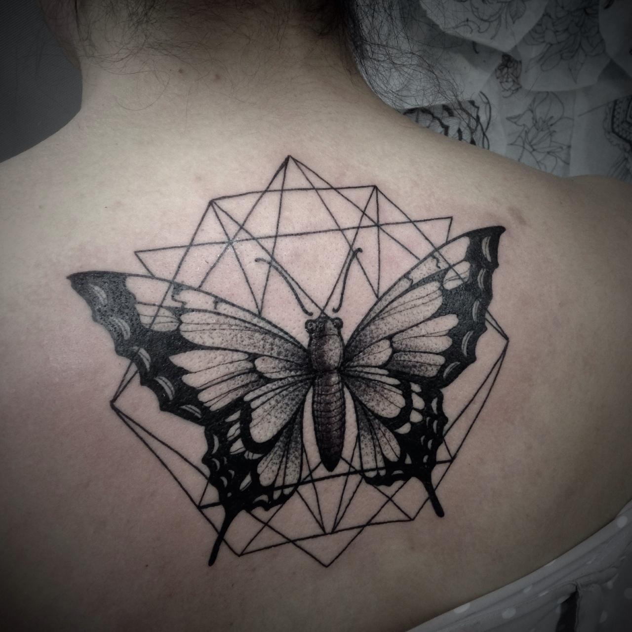 geometric butterfly tattoos