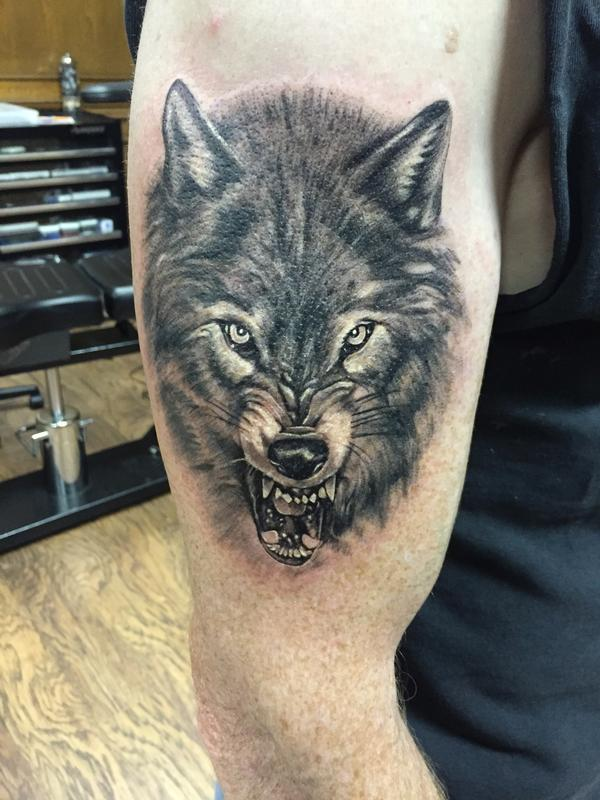black wolf tattoo - photo #3