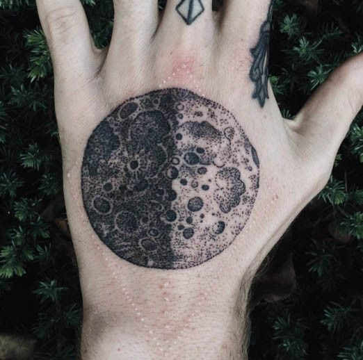moon tattoo dotwork
