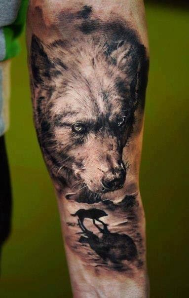 wolf tattoo arm