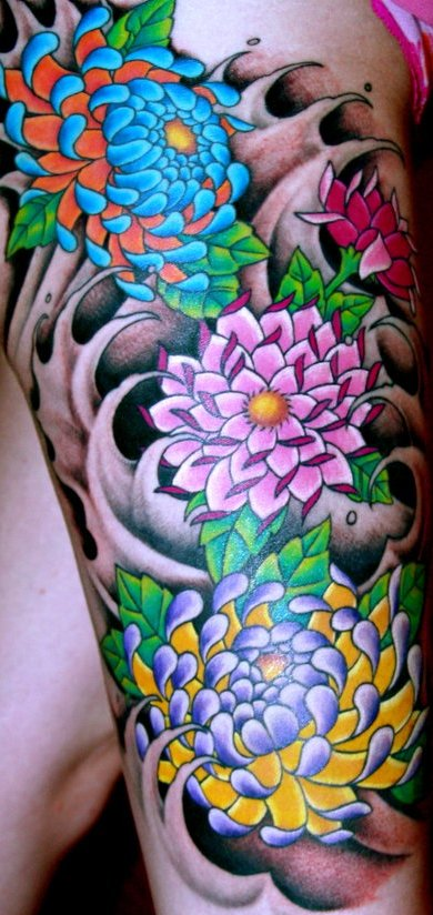 colorful leg tattoos