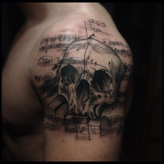 skull music tattoos