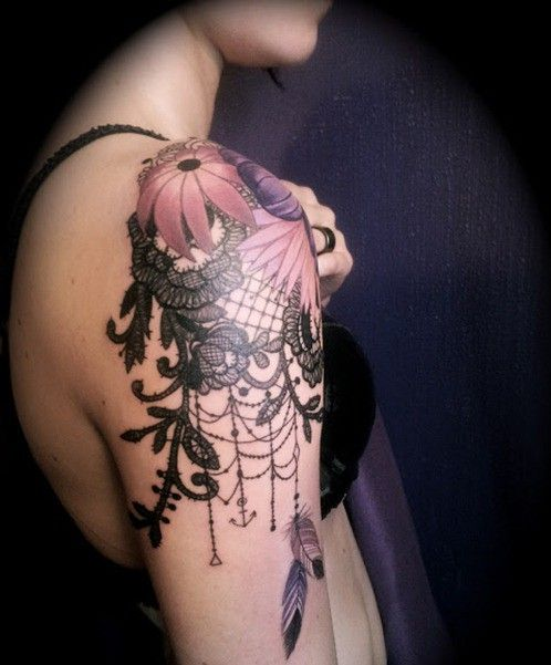 dream catcher shoulder tattoos