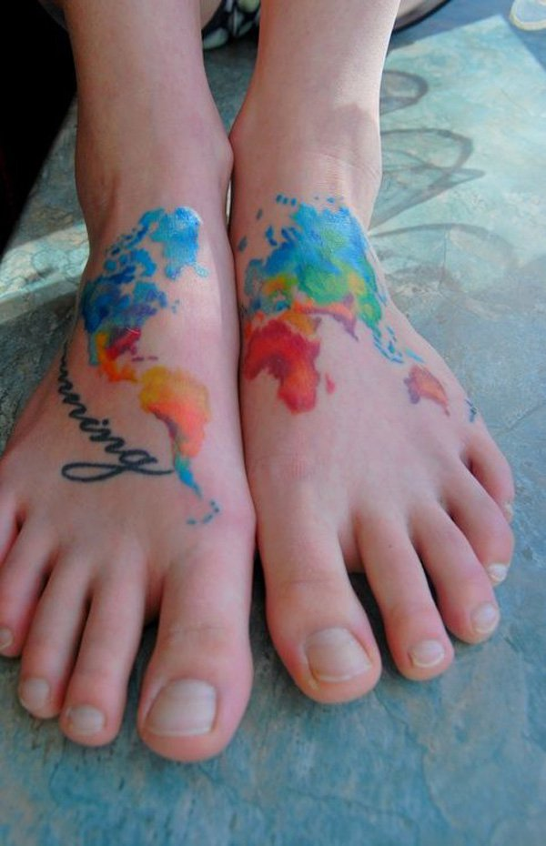 watercolor tattoos map