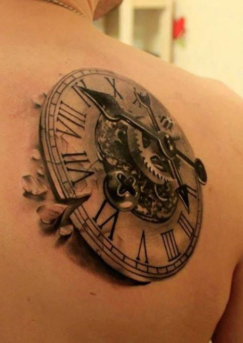 clock compass tattoo