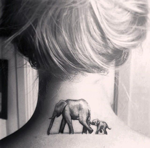 elephant neck tattoos