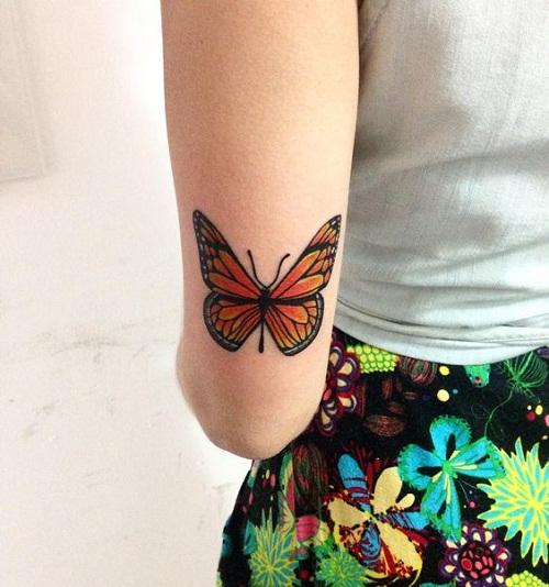 orange butterfly tattoos
