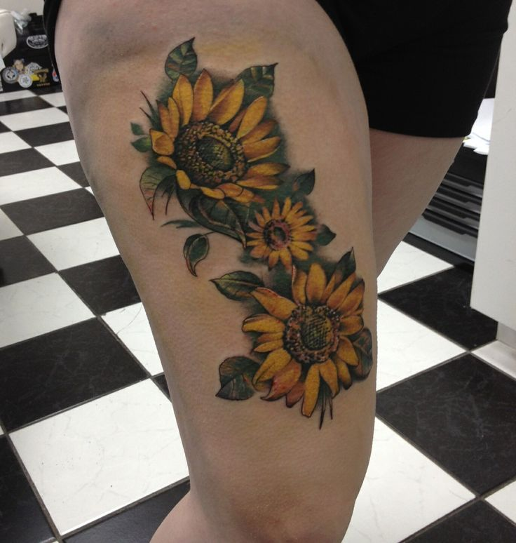 sunflower leg tattoos