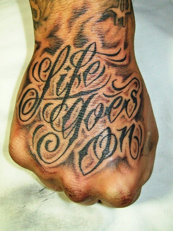 hand tattoos writing