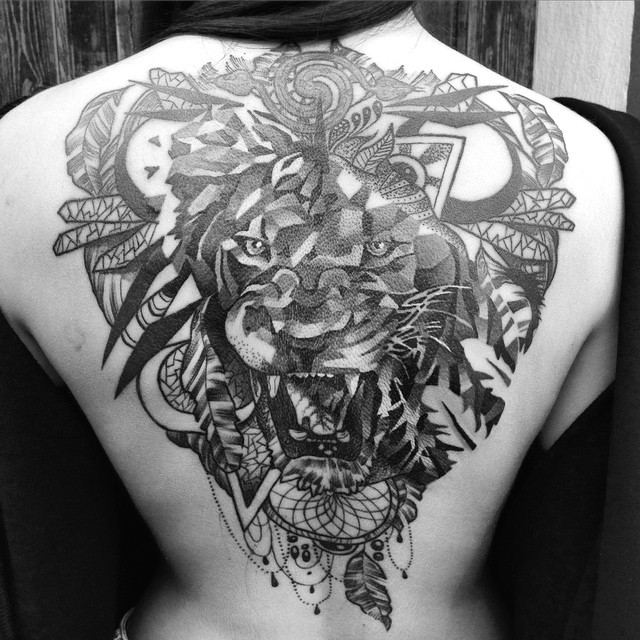 lion dream catcher tattoo