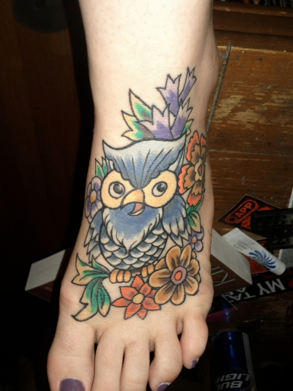 owl tattoo foot