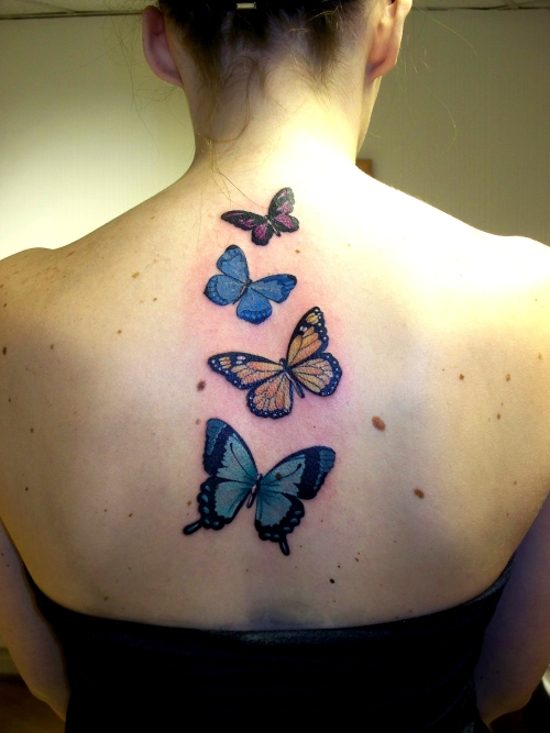 butterfly tattoos on back