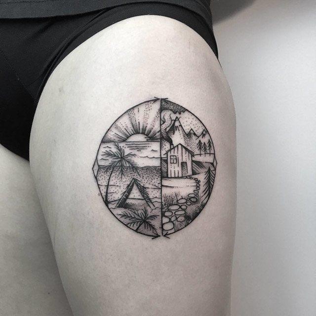leg mountain tattoo