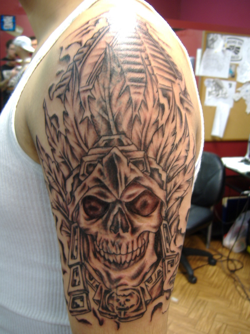 aztec skull tattoos
