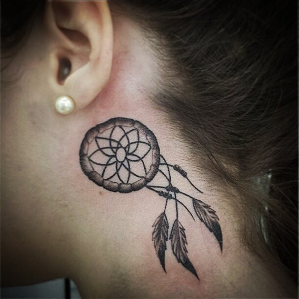 dream catcher tattoo behind ear
