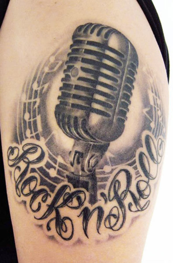 music tattoos microphone