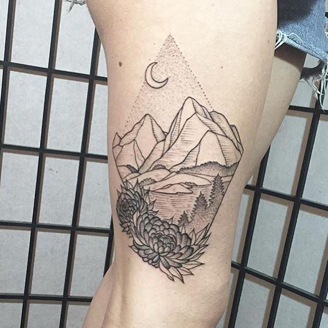 thigh mountain tattoo