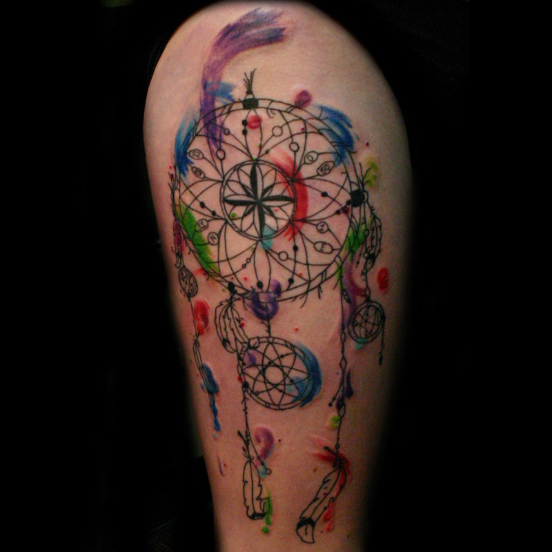 81 latest watercolor tattoos designs mens craze for Watercolor dreamcatcher tattoo