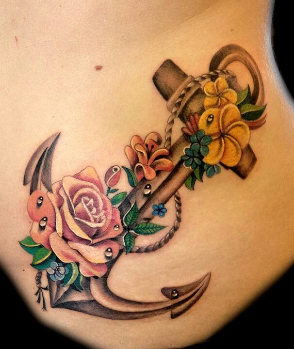 anchor tattoos with flowers