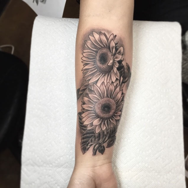 sunflower forearm tattoos