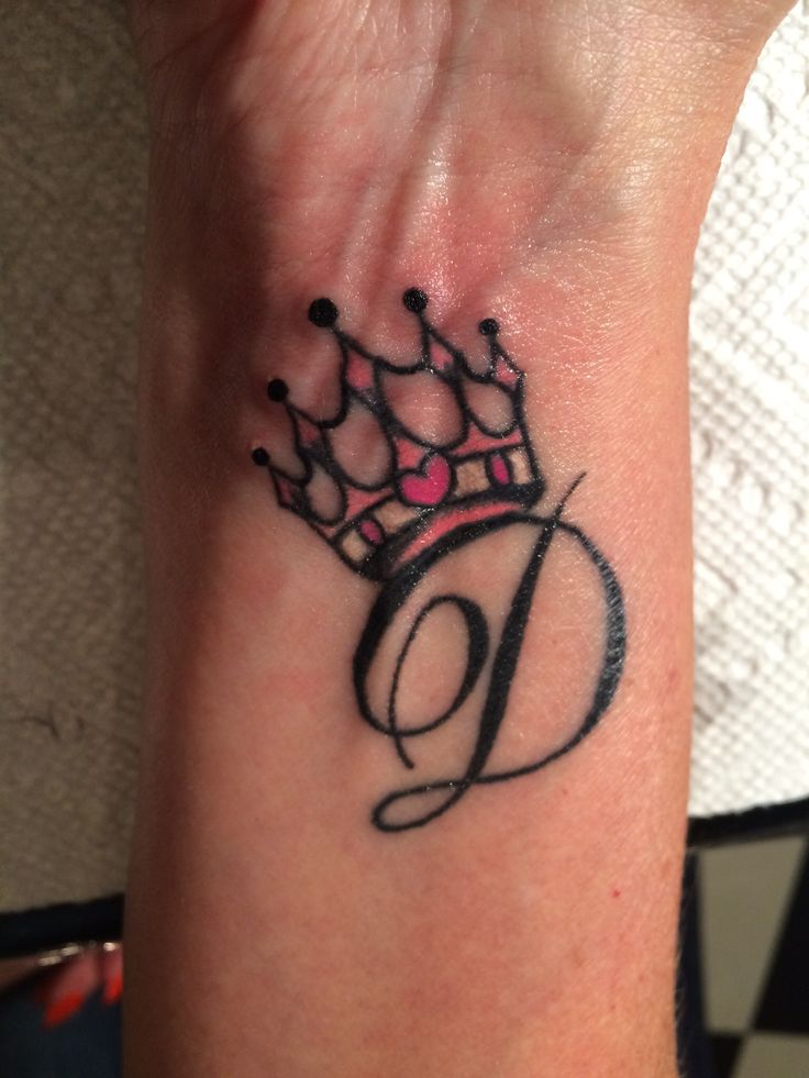 crown tattoos with initial