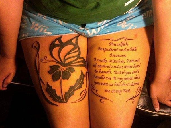 thigh tattoos writing