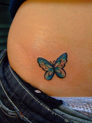 butterfly tattoos on hip