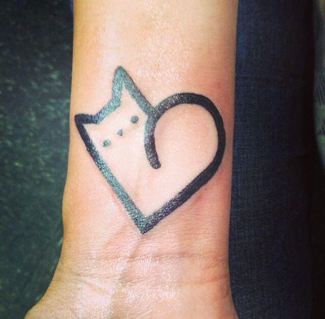 cat tattoo heart