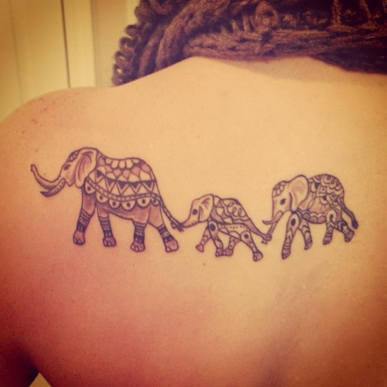 three elephant tattoo